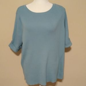 Short sleeve ribbed sweater with cuff sleeves